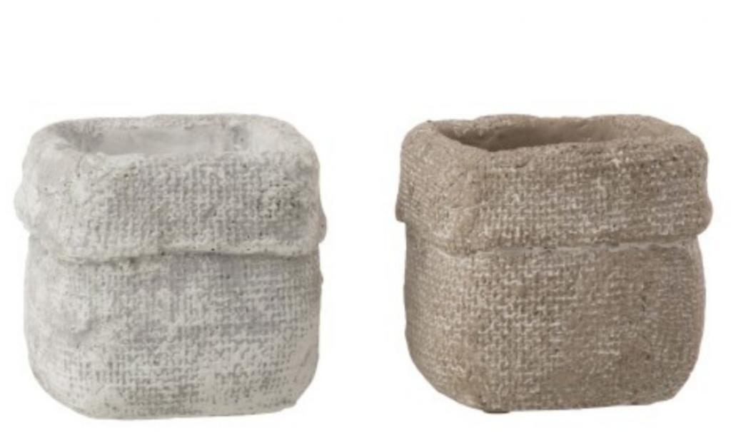 Produktové foto J-Line by Jolipa Set 2 betonových květináčů Ciment – 10* 10*9 cm
