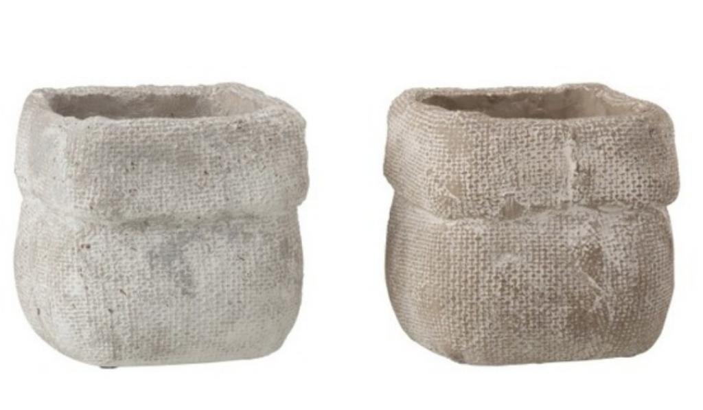 Produktové foto J-Line by Jolipa Sada 2 betonových květináčů Ciment – 13,5* 13,5*12,5 cm
