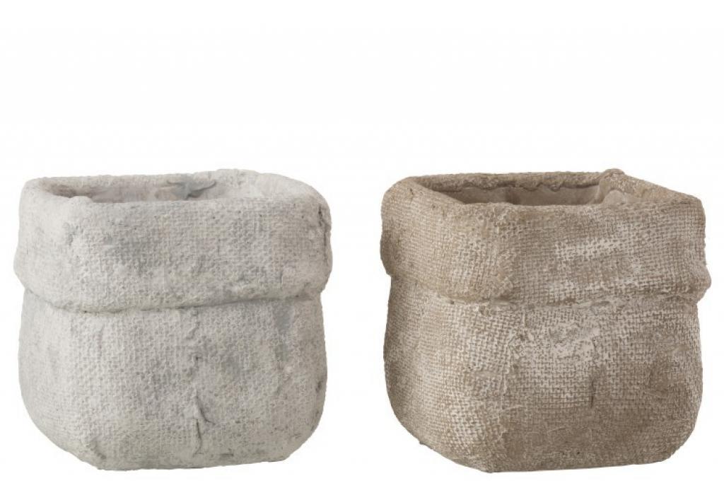 Produktové foto J-Line by Jolipa Sada 2 betonových květináčů Ciment – 16,5*16,5*14,5 cm