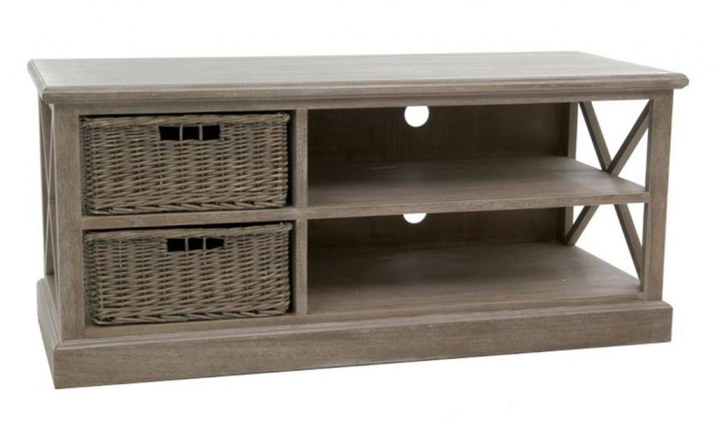 Produktové foto J-Line by Jolipa Dřevěný televizní stolek se 2 košíky Jerome - 120*49*51 cm