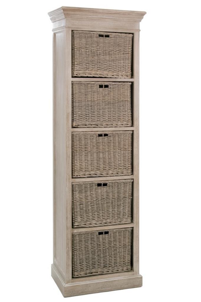 Produktové foto J-Line by Jolipa Dřevěná skříň s proutěnými košíky Jerome - 59*40*194 cm
