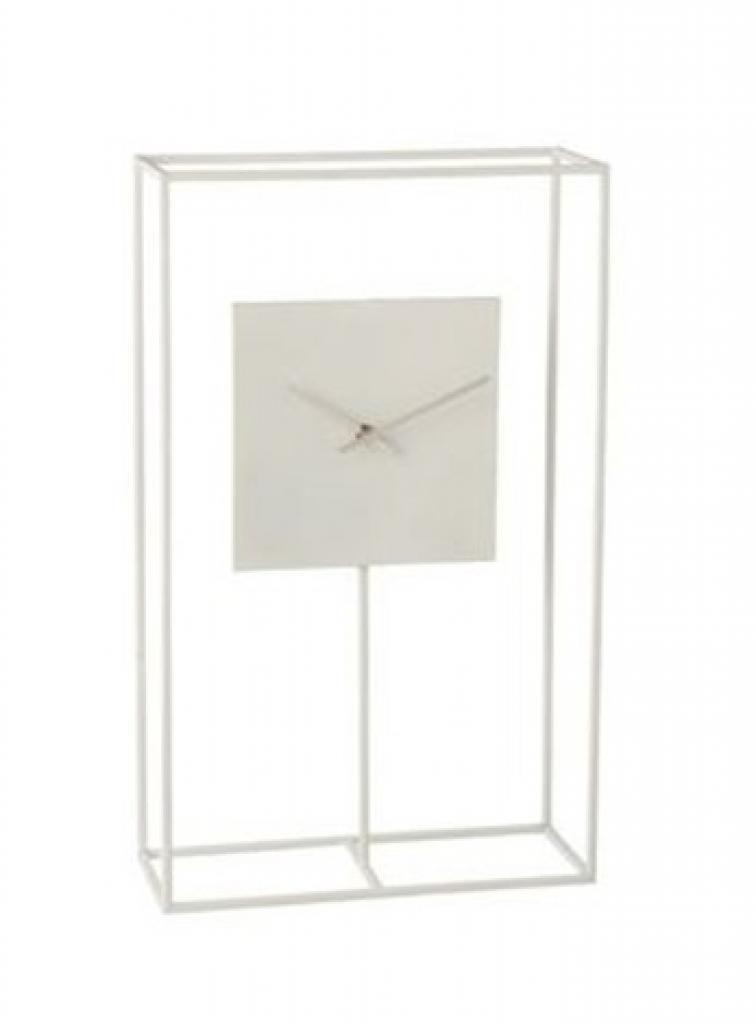 Produktové foto J-Line by Jolipa Minimalistické stolní hodiny v bílém kovovém rámu Morgaine - 33,02*13*54,5 cm
