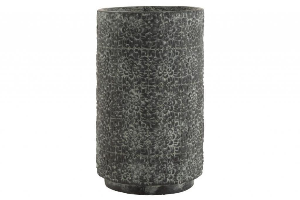 Produktové foto J-Line by Jolipa Šedý betonový květináč zdobený květinami - Ø 29,5*49 cm