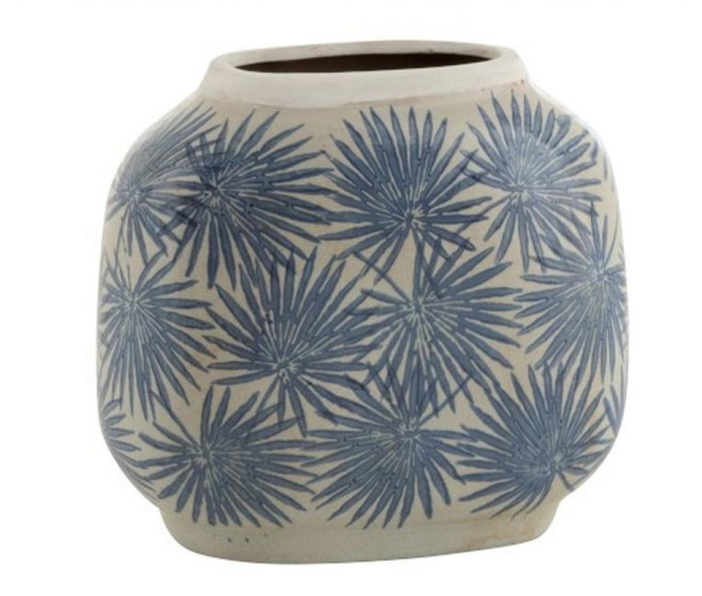 Produktové foto J-Line by Jolipa Keramická váza s modrými květy Blaw - 24*12,5*22 cm