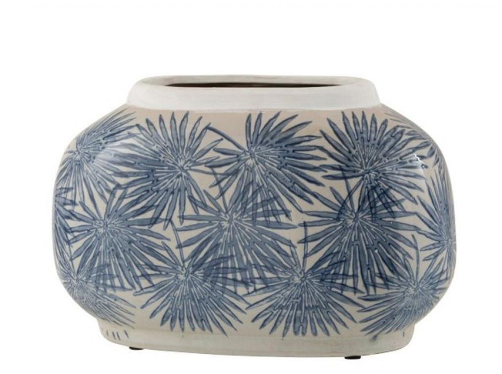 Produktové foto J-Line by Jolipa Keramická váza s modrými květy Blaw - 29*16*18,5 cm
