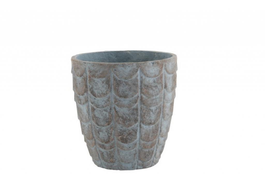 Produktové foto J-Line by Jolipa Šedo modrý keramický květináč - Ø  32*32,5 cm