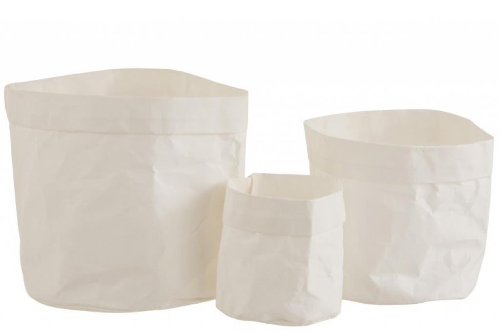 Produktové foto J-Line by Jolipa Set 3ks bílých  květináčů z voděodolného papíru - 20*20*20 cm