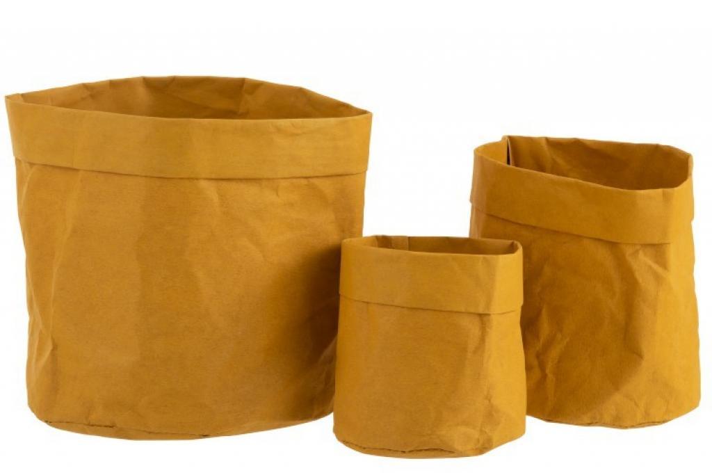 Produktové foto J-Line by Jolipa Set 3ks hořčicově žlutých květináčů z voděodolného papíru- 20*20*20 cm