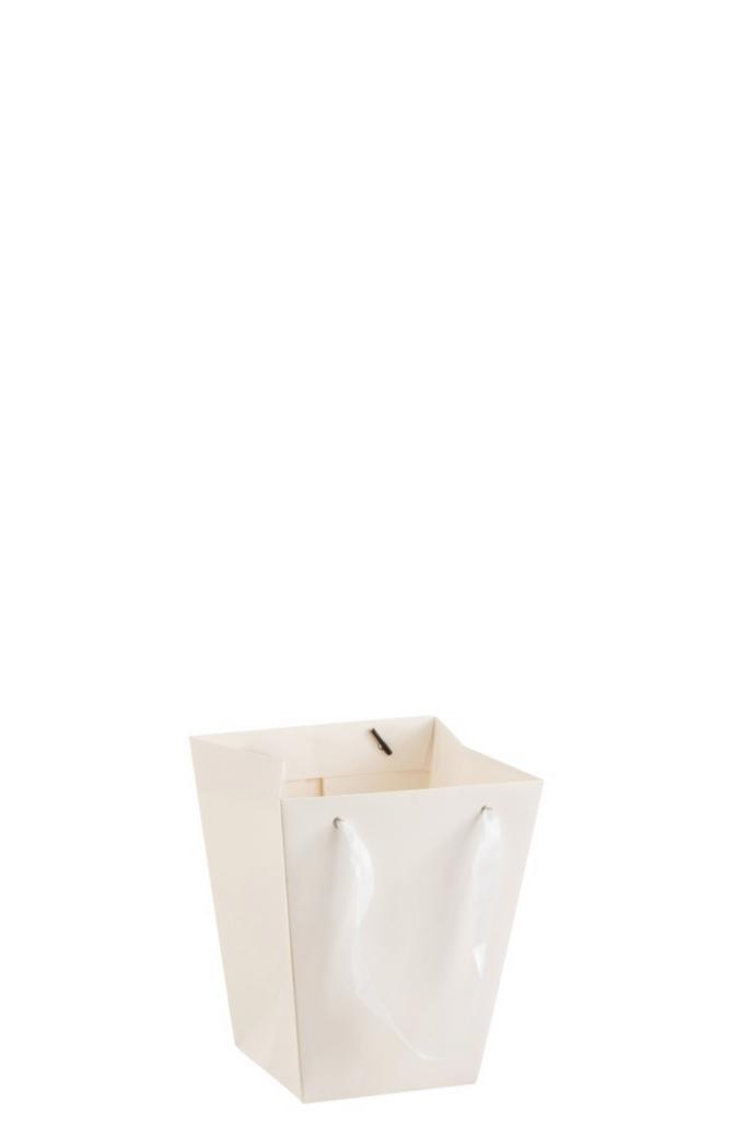 Produktové foto J-Line by Jolipa Bílý květináč ve tvaru dárkové tašky - 17*17*20 cm
