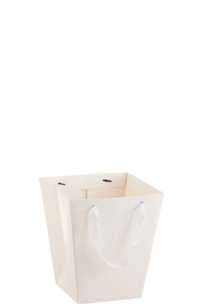 Produktové foto J-Line by Jolipa Bílý voděodolný květináč ve tvaru dárkové tašky - 22*22*25 cm