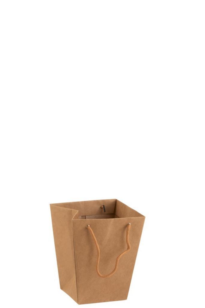 Produktové foto J-Line by Jolipa Hnědý voděodolný květináč ve tvaru tašky - 17*17*20 cm
