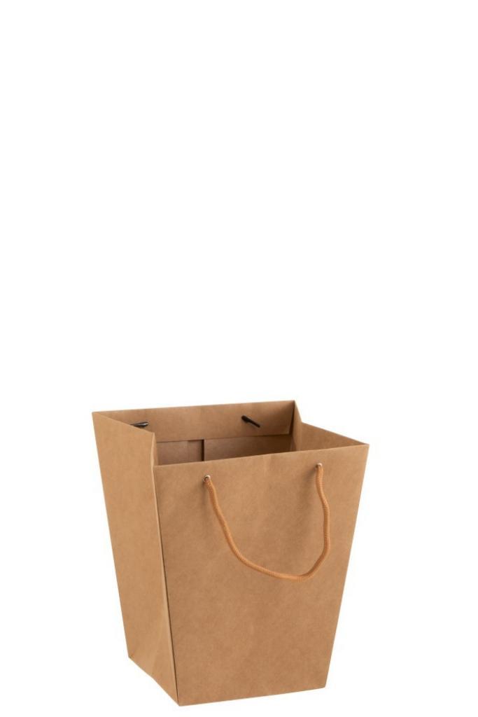 Produktové foto J-Line by Jolipa Hnědý voděodolný květináč ve tvaru tašky- 22*22*25 cm