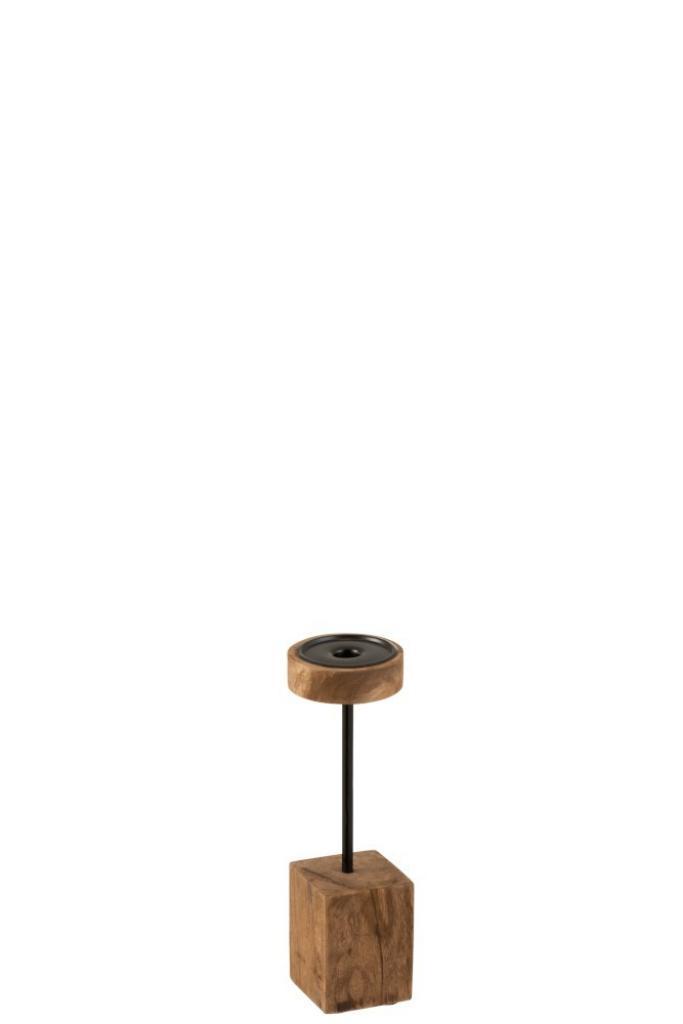 Produktové foto J-Line by Jolipa Dřevěný hnědý svícen  Mango  S  - Ø  10*33 cm