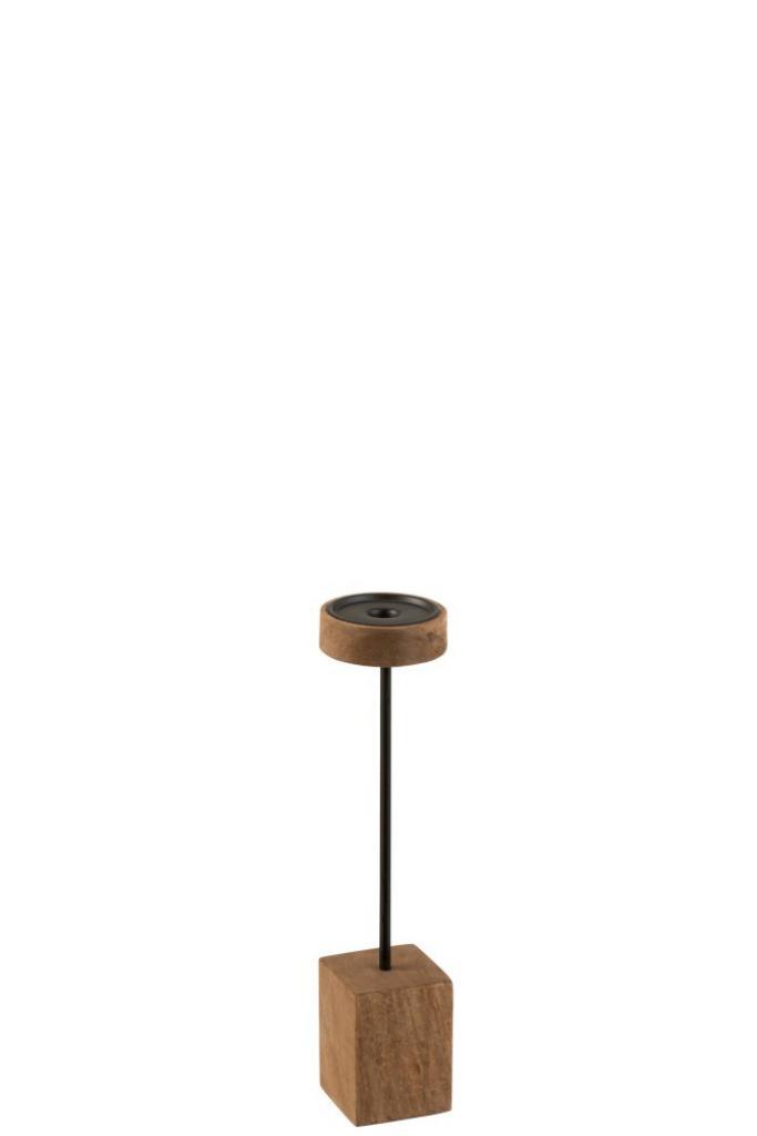 Produktové foto J-Line by Jolipa Dřevěný hnědý svícen  Mango L  - Ø  10,5*43 cm
