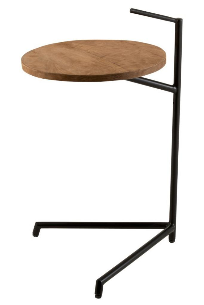 Produktové foto J-Line by Jolipa Černý kovový odkládací stolek s dřevěnou deskou Mango - Ø 35*42*65 cm