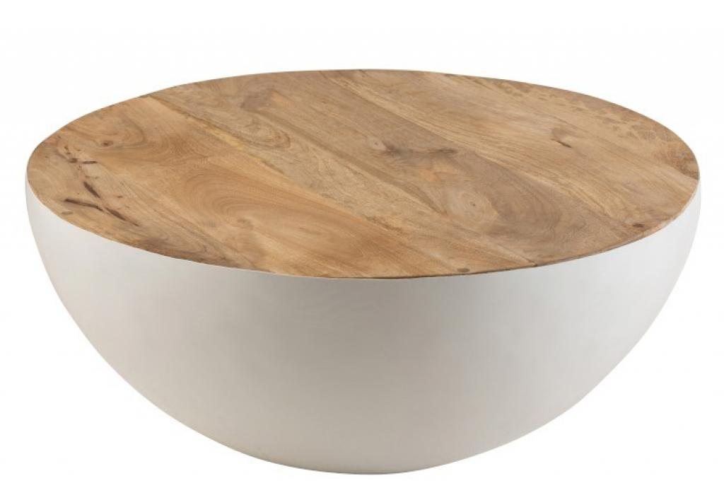 Produktové foto J-Line by Jolipa Bílý kovový stůl s dřevěnou deskou Mango - Ø 90*38 cm