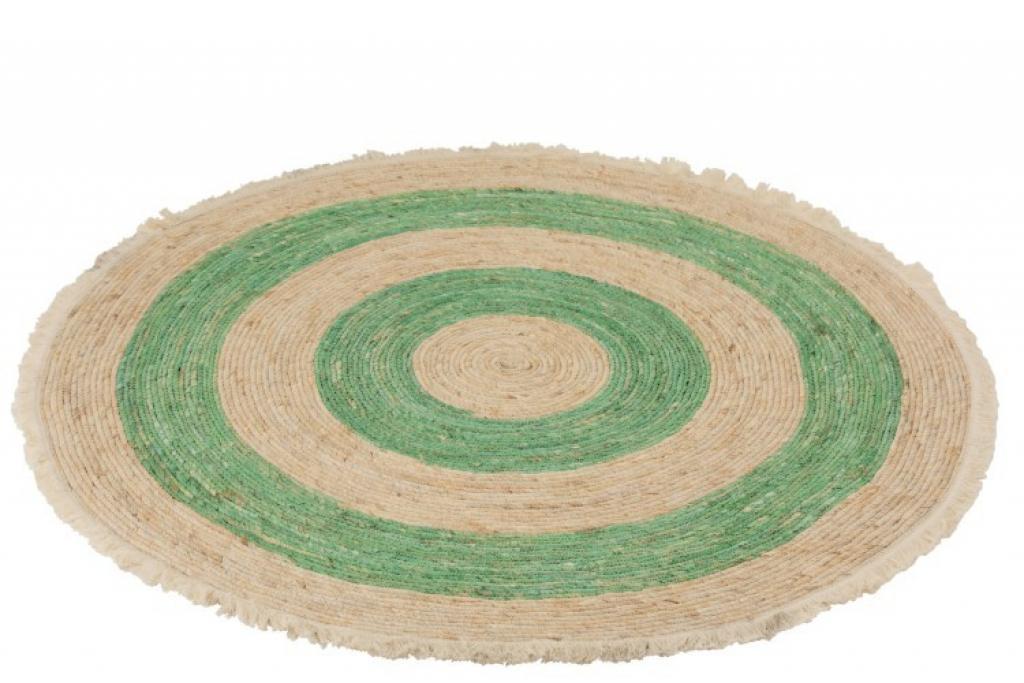 Produktové foto J-Line by Jolipa Přírodně-zelený kulatý koberec z mořské trávy s třásněmi - Ø 120 cm