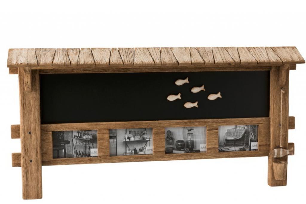 Produktové foto J-Line by Jolipa Nástěnná magnetická tabule a fotorámečky Paulownia - 92*46,5*8,8 cm
