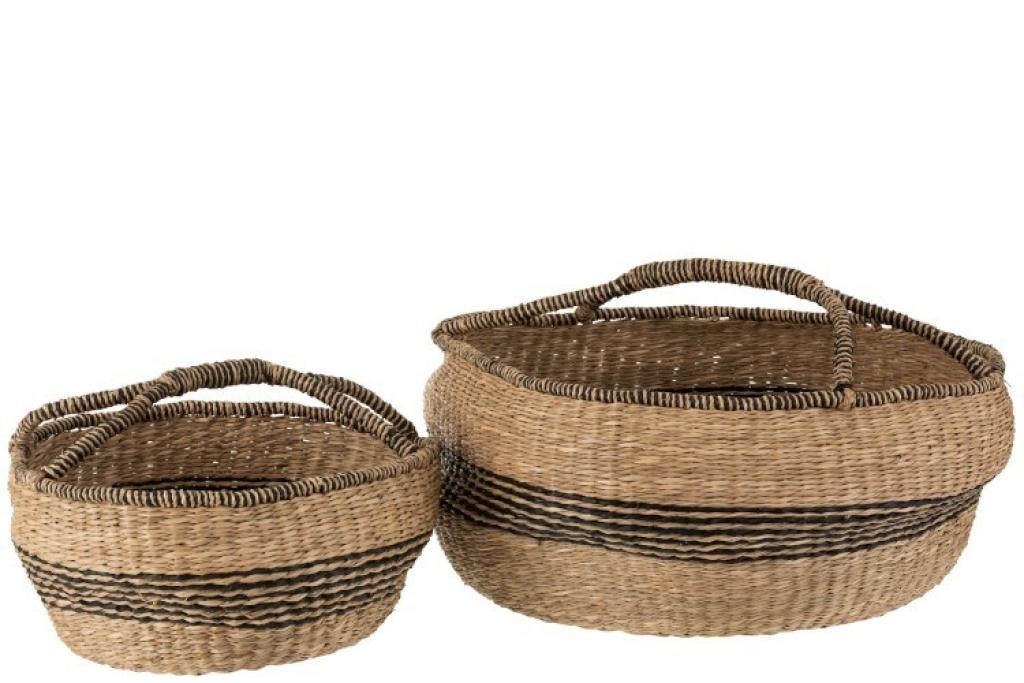 Produktové foto J-Line by Jolipa Sada 2 přírodních košů pletených z mořské trávy Urille - Ø 60*26 cm