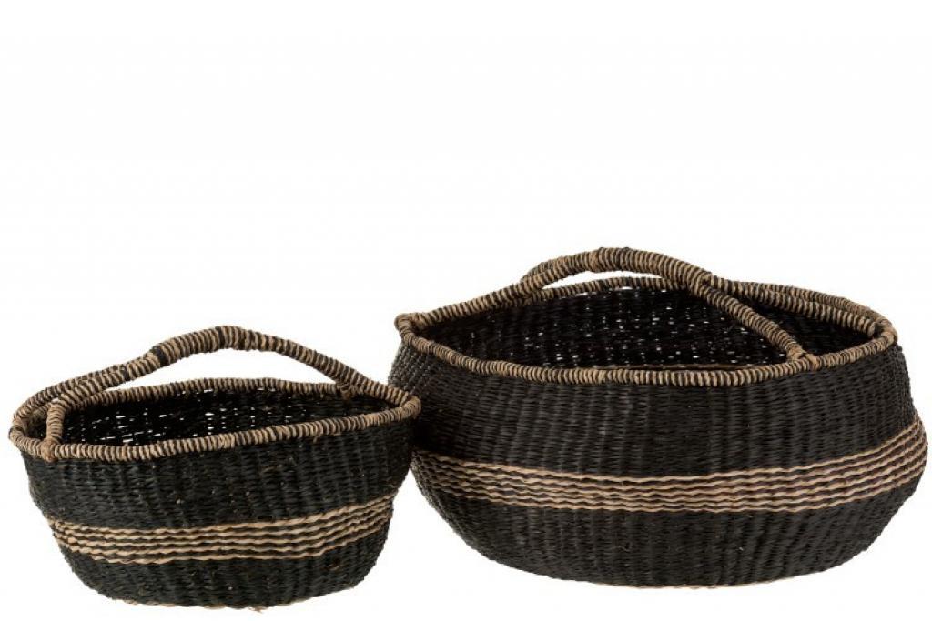Produktové foto J-Line by Jolipa Sada 2 košů pletených z mořské trávy Urille - Ø 60*26 cm