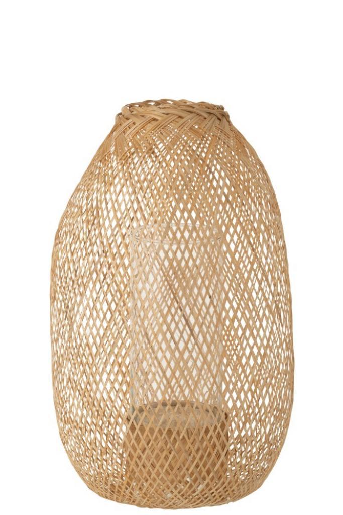 Produktové foto J-Line by Jolipa Lucerna z bambusového dřeva Hazel – Ø 33*49 cm