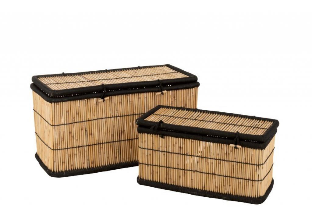 Produktové foto J-Line by Jolipa Sada 2 úložných košů z bambusového dřeva Gigi - 100*40*40 cm
