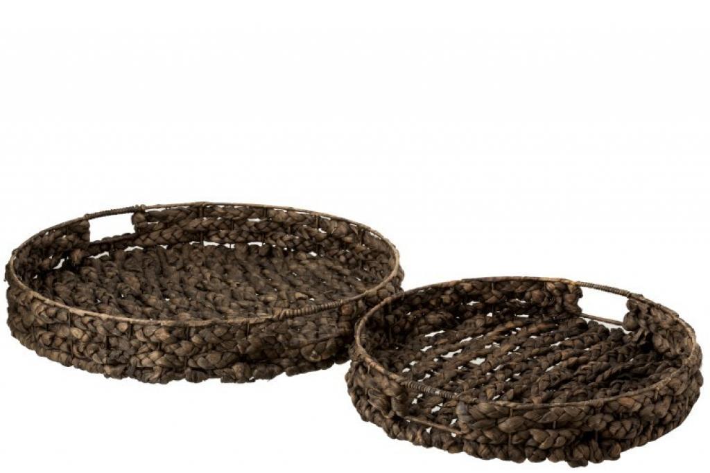 Produktové foto J-Line by Jolipa Set 2 velkých kulatých podnosů z vodního hyacintu Josiane - 51*51*10 cm