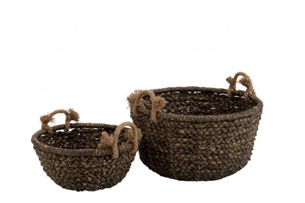 Produktové foto J-Line by Jolipa Sada 2 úložných košů pletených z vodního hyacintu Josiane - Ø 56*32 cm