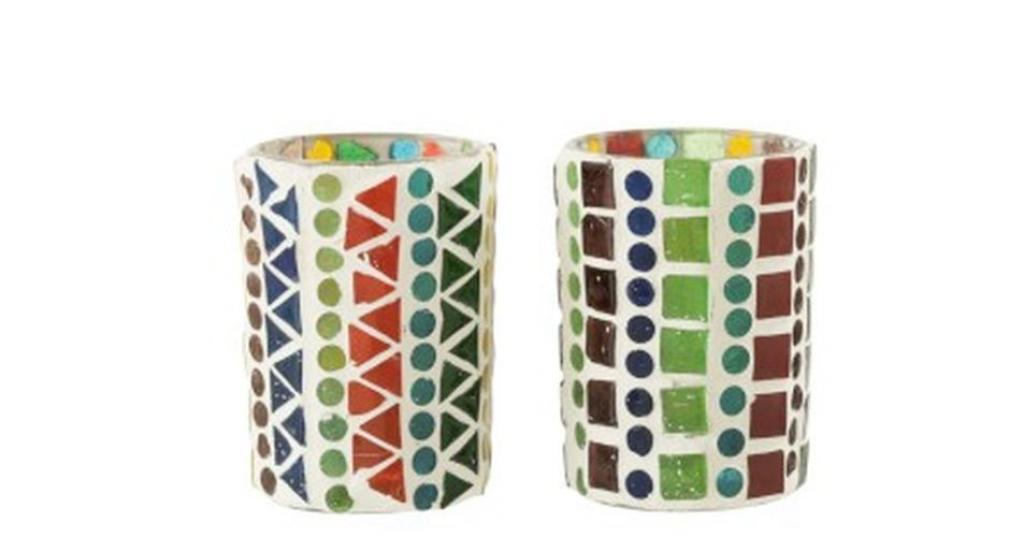 Produktové foto J-Line by Jolipa 2ks barevný skleněný svícen na čajovou svíčku Mosaic - Ø 6 *8,5 cm