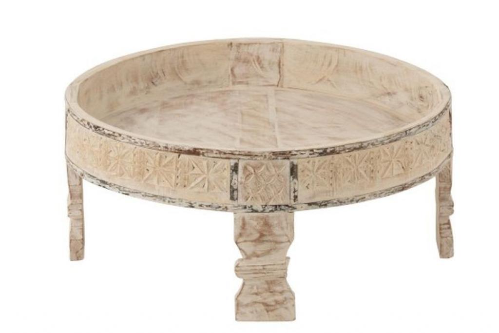 Produktové foto J-Line by Jolipa Vintage podnos / stolek na nožkách z recyklovaného dřeva - Ø 62*28 cm