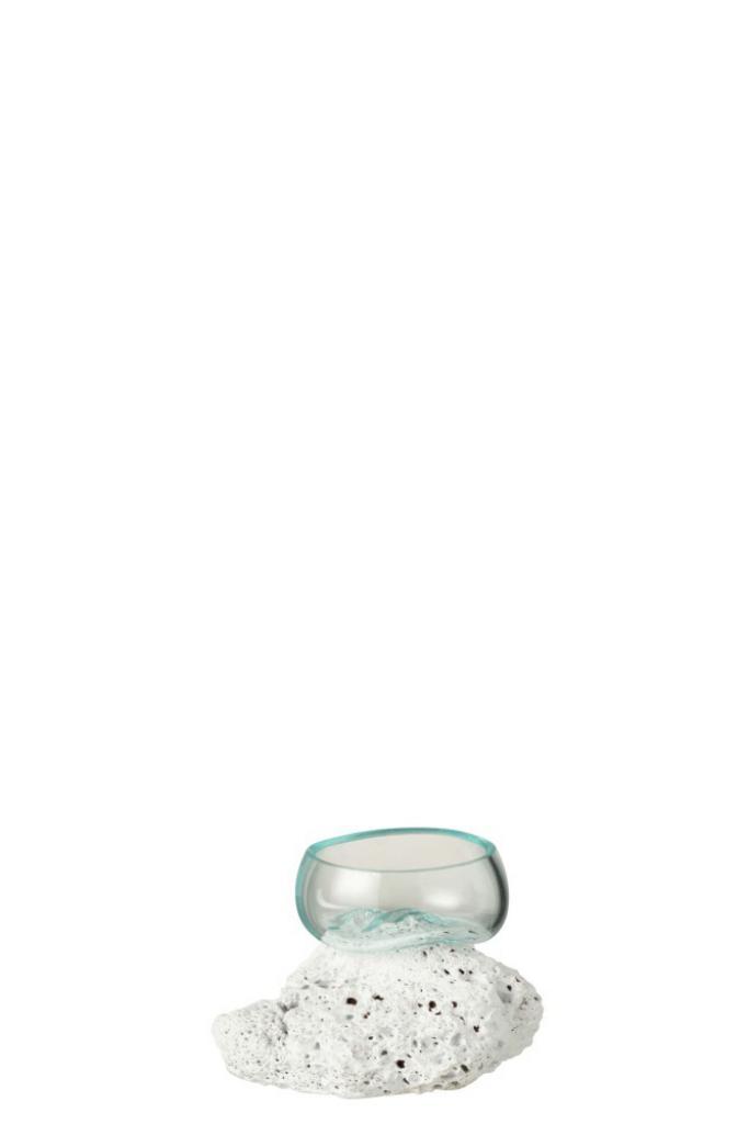Produktové foto J-Line by Jolipa Váza z recyklovaného skla na lávovém kameni Lava XS - 10*10*10 cm