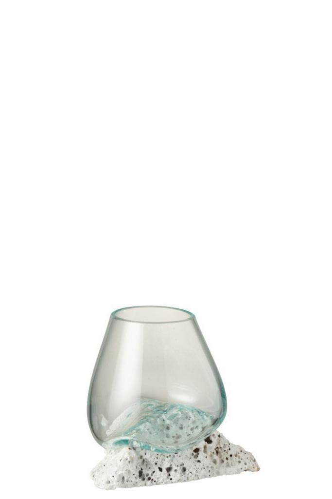 Produktové foto J-Line by Jolipa Skleněná váza vsazená na lávový kámen Lava M - 17*12,5*13,5 cm