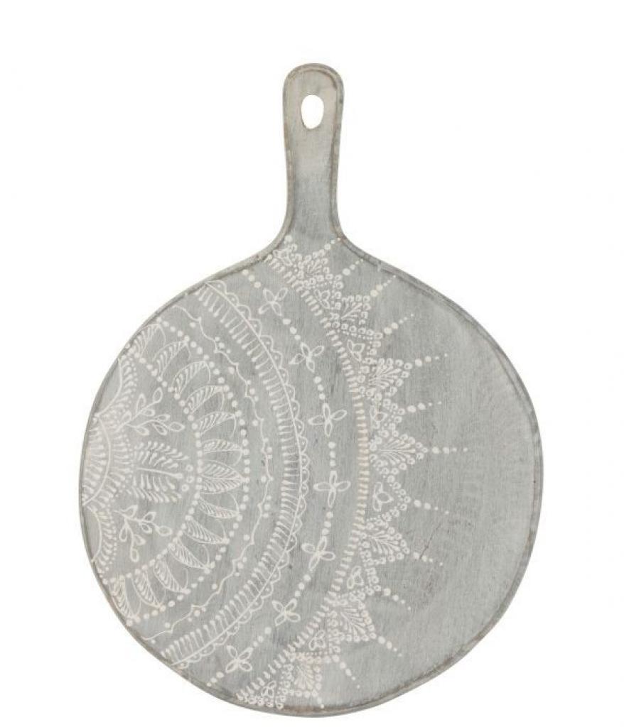 Produktové foto J-Line by Jolipa Šedé servírovací prkénko s malovaným ornamentem - Ø 30*1,5 *39 cm