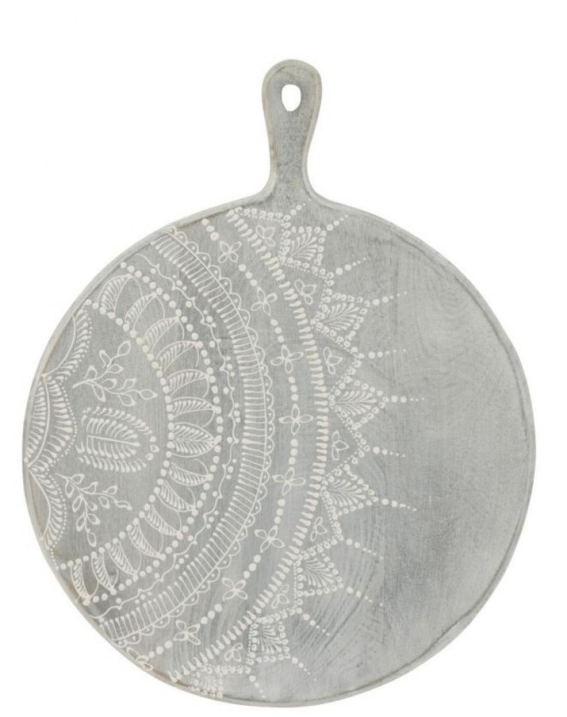 Produktové foto J-Line by Jolipa Šedé servírovací prkénko s malovaným ornamentem - Ø 40 *1,5*52 cm