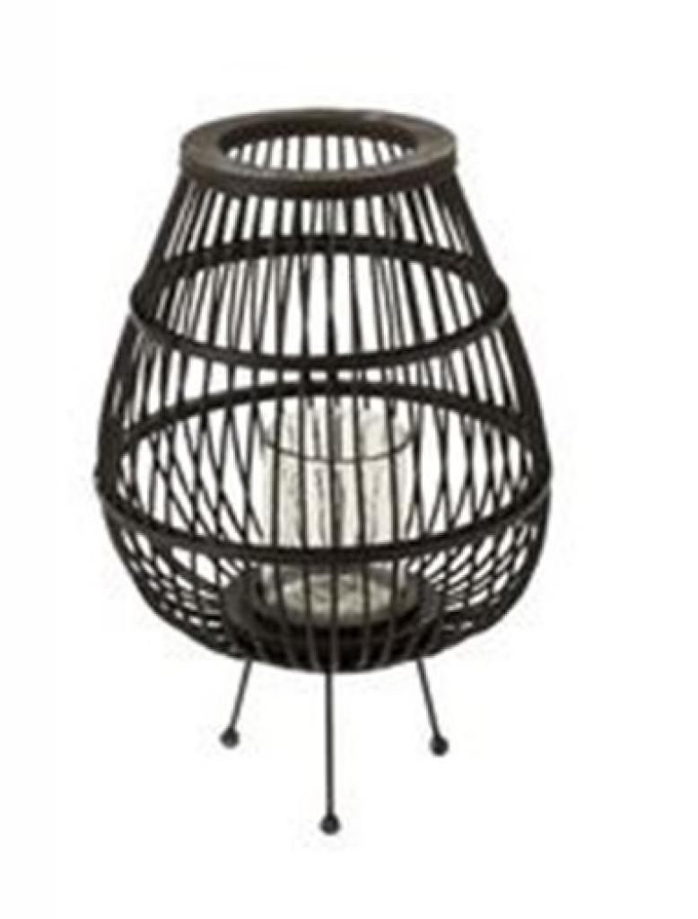 Produktové foto J-Line by Jolipa Černá lucerna ze dřeva se stojanem na svíčku Veva S - Ø 31,5*46,5 cm