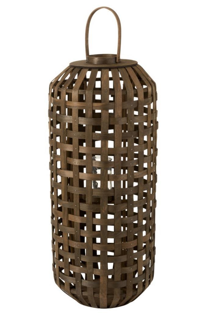 Produktové foto J-Line by Jolipa Tmavě hnědá dřevěná lucerna Toinette L -  Ø 41,5*95 cm