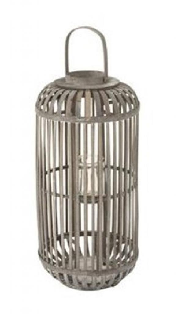 Produktové foto J-Line by Jolipa Šedá dřevěná lucerna se stojanem na svíčku Zephyrine S - Ø 32*67 cm