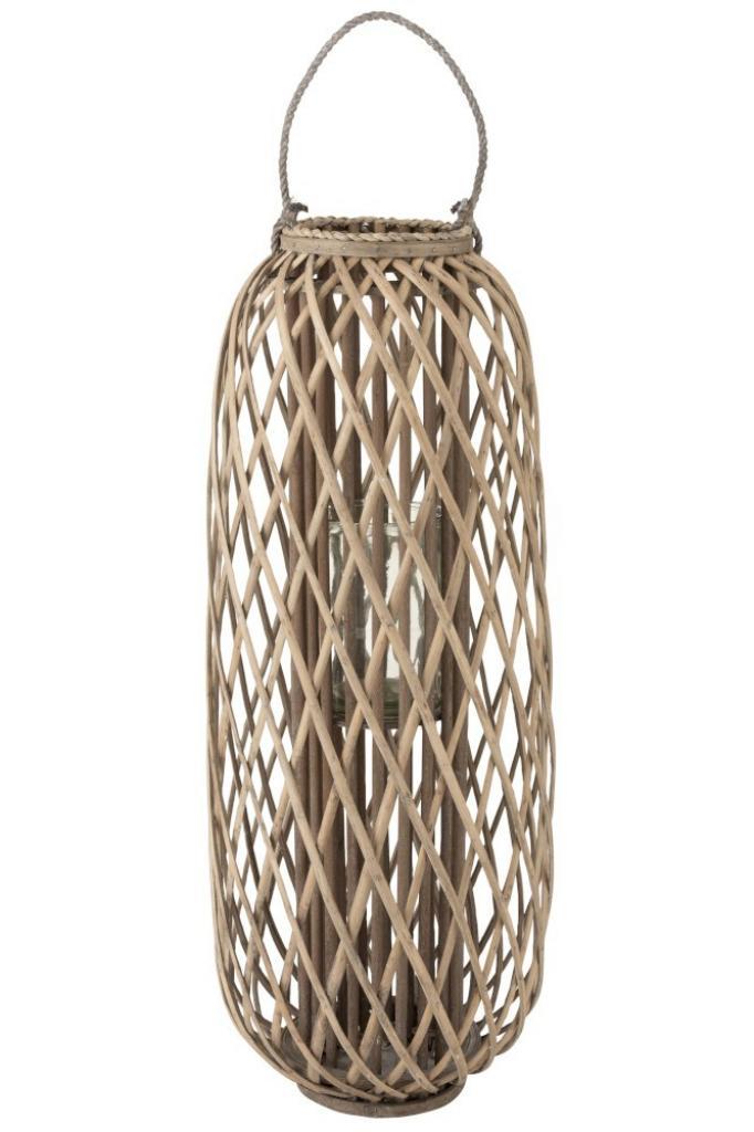 Produktové foto J-Line by Jolipa Šedohnědá dřevěná lucerna Romaine L - Ø 38,5*96,5 cm