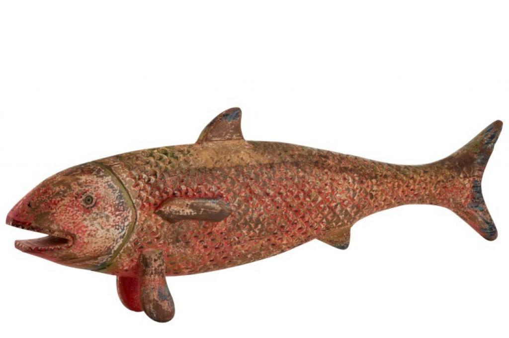 Produktové foto J-Line by Jolipa Barevná dřevěná veliká ryba Fish Sphere - 121*13*40,5 cm