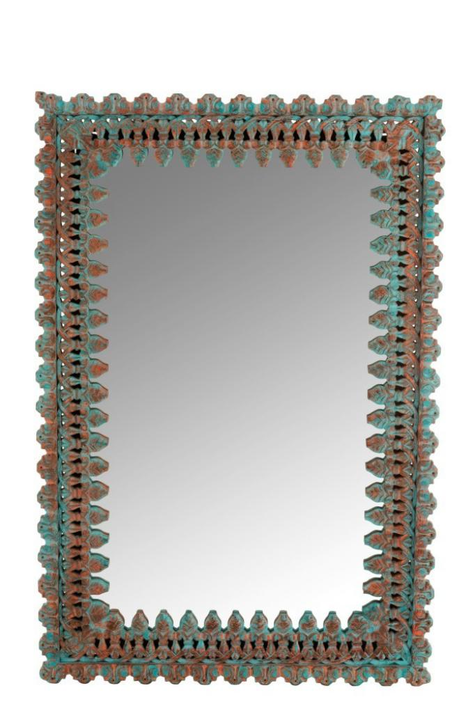 Produktové foto J-Line by Jolipa Nástěnné zrcadlo s dřevěným rámem s modrou patinou Oriental - 100*6*150 cm