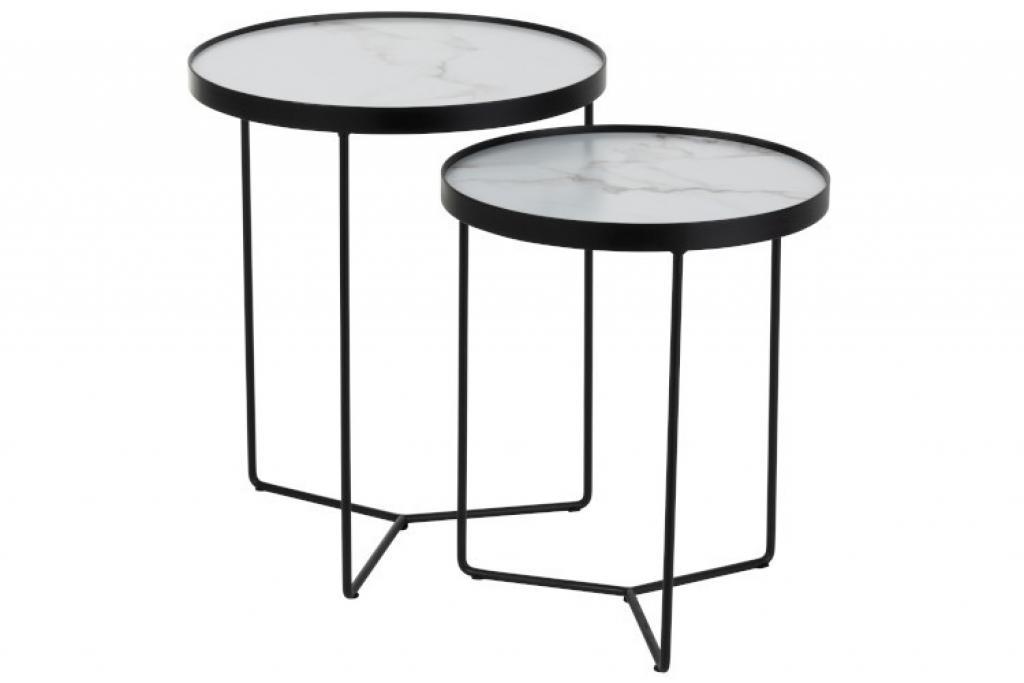 Produktové foto J-Line by Jolipa Set 2 odkládacích stolků v marble designu Helaine - Ø 45*55 cm