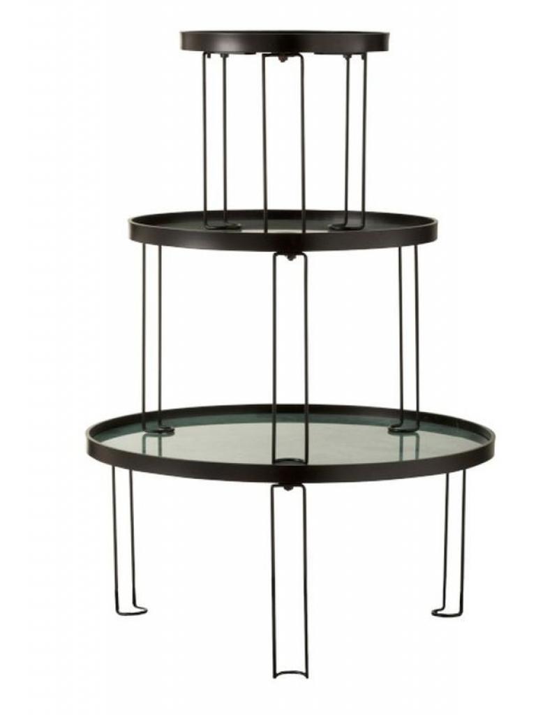 Produktové foto J-Line by Jolipa Set 3 kovových odkládacích stolků Roundy mint - Ø 63,5*36 cm