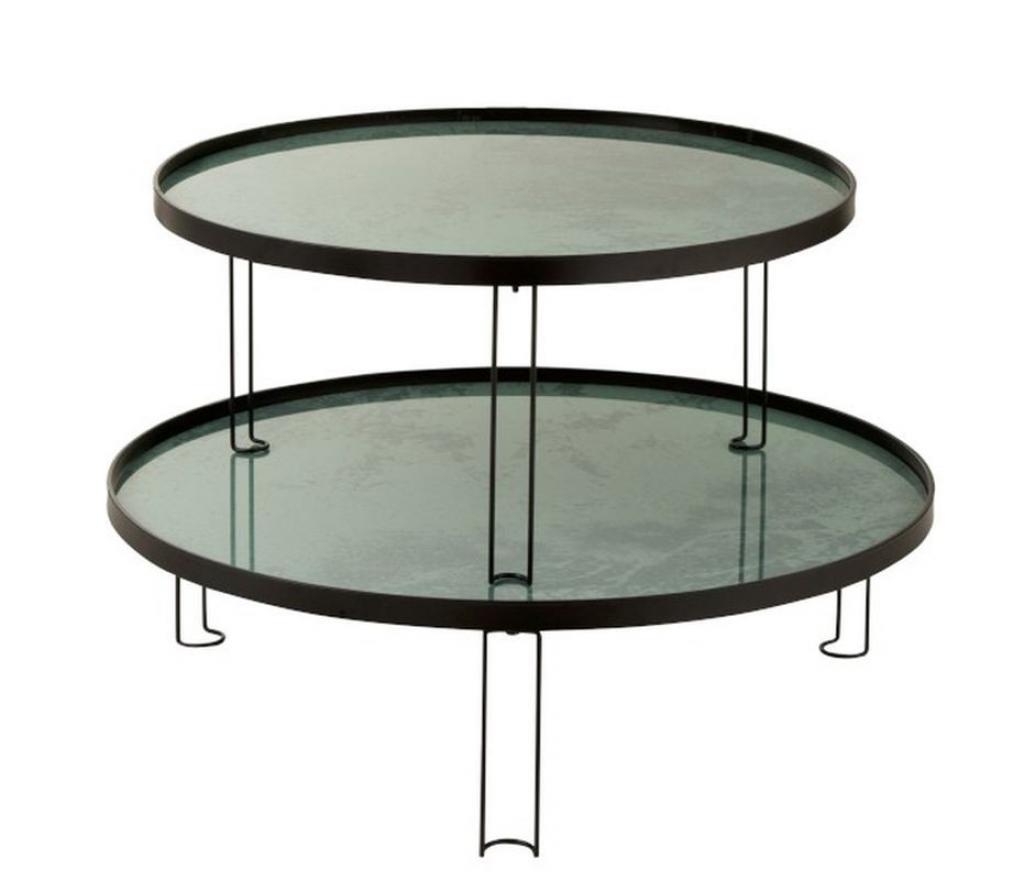 Produktové foto J-Line by Jolipa Set 2 kovových odkládacích stolků Roundy mint - Ø 94*28 cm