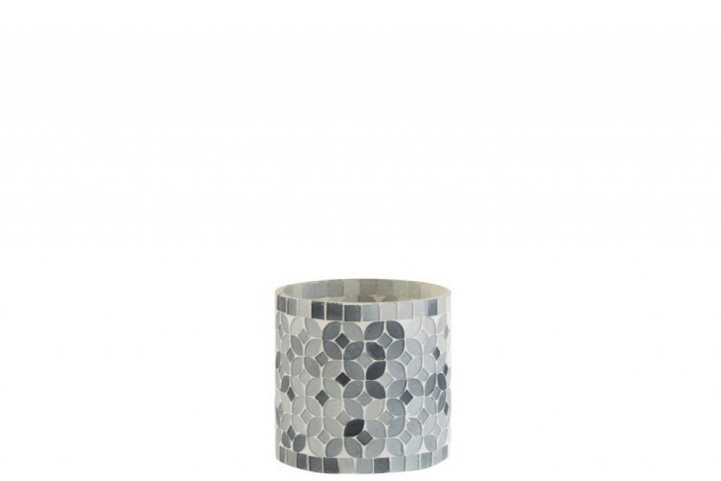 Produktové foto J-Line by Jolipa Šedý skleněný svícen na čajovou svíčku Mosaic  10*10*9,5 cm