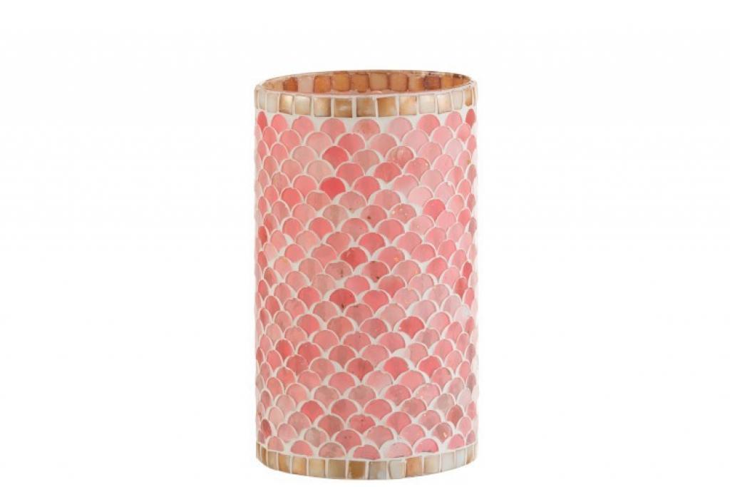 Produktové foto J-Line by Jolipa Růžový skleněný svícen na čajovou svíčku Mosaic- 13,5*13,5*23 cm