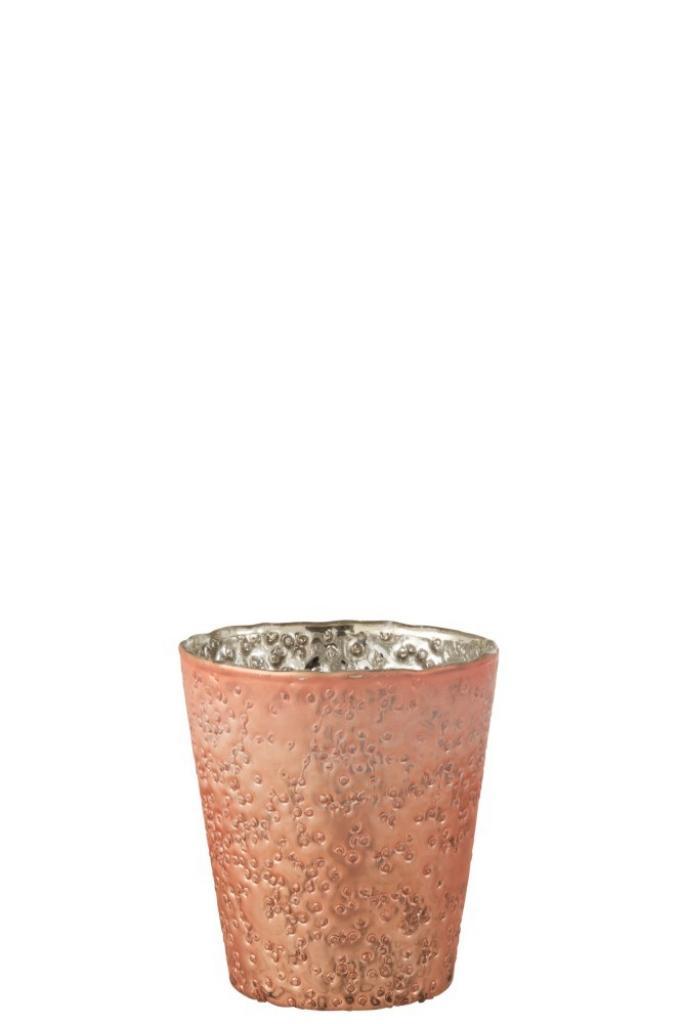 Produktové foto J-Line by Jolipa Skleněný svícen lososové barvy na čajovou svíčku  - 10*10*11 cm