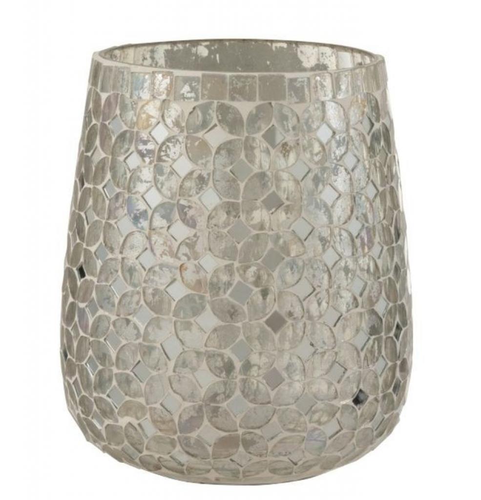 Produktové foto J-Line by Jolipa Stříbrný skleněný svícen Mosaic M - Ø15*17,5 cm