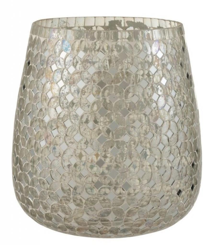 Produktové foto J-Line by Jolipa Stříbrný skleněný svícen Mosaic L - Ø20*22 cm