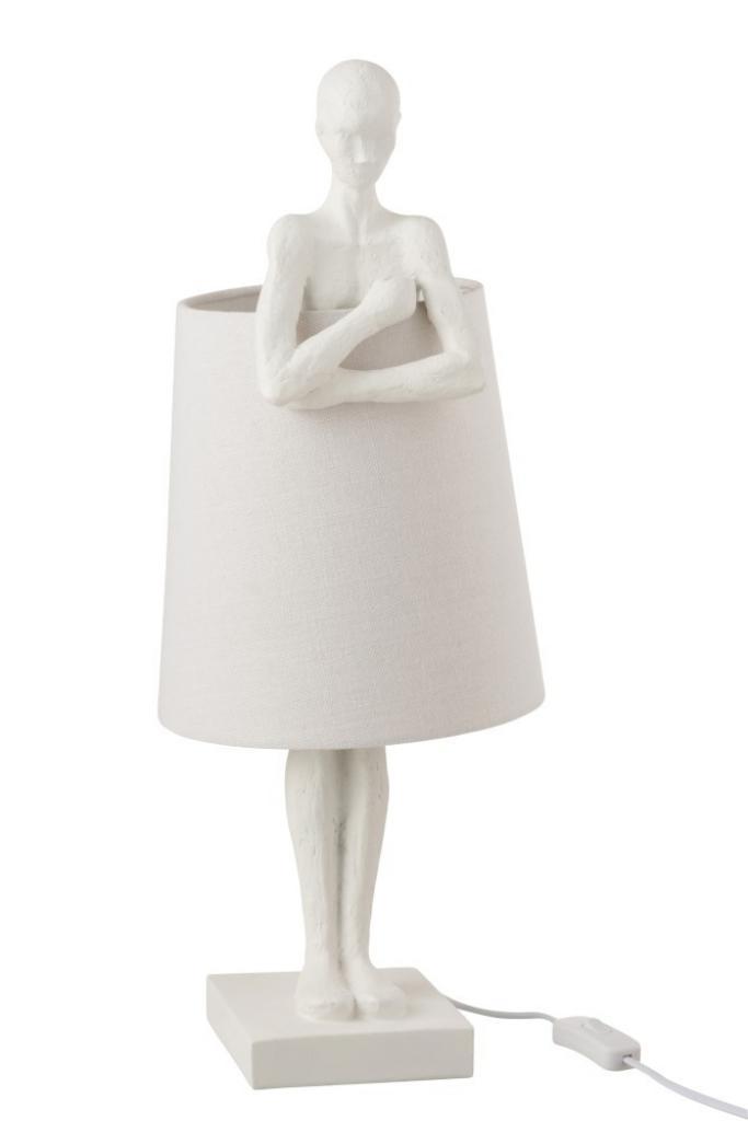 Produktové foto J-Line by Jolipa Bílá stolní lampa Figurines – Ø 23,5*58 cm
