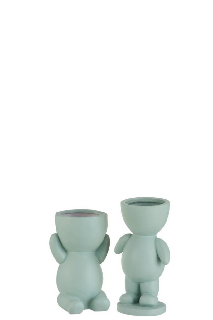 Produktové foto J-Line by Jolipa Světle zelený květináč  figurka  z polyresinu 2 kusy - 14*12*23 cm
